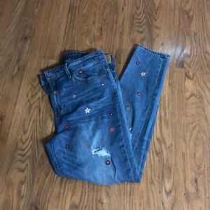 Lucky Brand Embroidered and Distressed Jeans